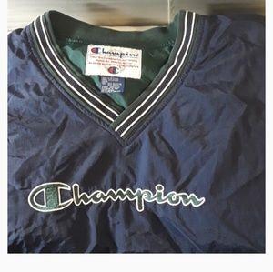 Champion Vtg Blue Green Pullover V Neck Jacket XL
